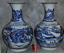Lg Pair Chinese blue and white porcelain vases.