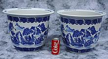 Pair of Chinese export porcelain planters