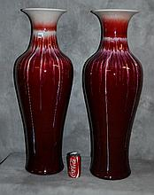 Large pair chinese flambe porcelain vases