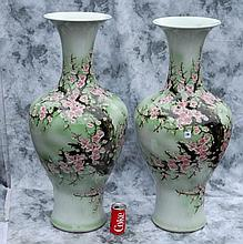 Pair Chinese celadon porcelain vases with calligraphy