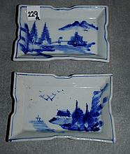 Pair 19th C Chinese blue and white porcelain dishes