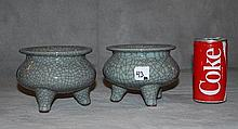 Pair Chinese porcelain green crackle glaze censors