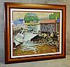 Hal Burriss framed watercolor of a dock scene signed lower left