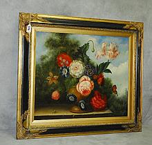 Oil on canvas still life of flowers. Site size H:20