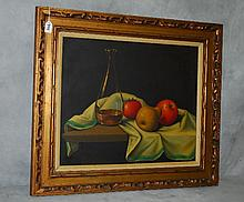 Oil on canvas still life of fruit. Site size H:19.5