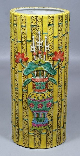 19th C Chinese porcelain vase with bamboo design