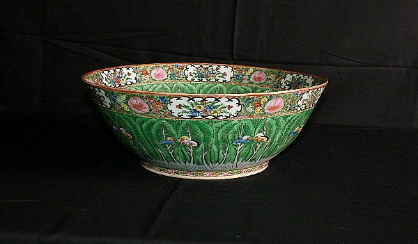 19th c Chinese cabbage leaf porcelain punch bowl