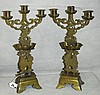 Pair of brass Chinese candleabrs. H:16. 5