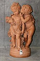 Antique terracotta statue of kids harvesting, Signed