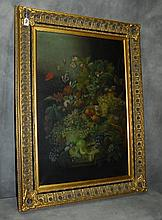 Oil on canvas of still life in giltwood frame. H:46