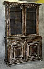 Continental carved and painted two piece cabinet
