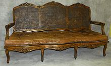 19th c French provincial double cane back settee. H:41
