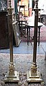 PAIR OF VICTORIAN BRASS COLUMN FORM STANDARD LAMPS