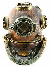 DECORATIVE COPPER AND BRASS DIVE HELMET