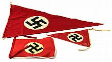 WWII GERMAN PENNANT LOT OF THREE