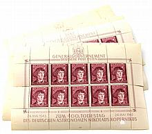 12 WWII GERMAN UNCUT STAMP SHEETS COPERNICUS
