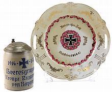 GERMAN WWI COMMEMORATIVE PLATE & STEIN