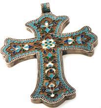 1883 Russian Heavy 140gr Handmade Silver Cross Flowery Enamel Work