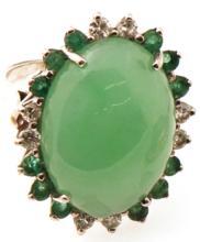 Certified Natural Jade w. Diamonds & Emeralds in Gold-Estate Ring