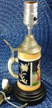 Vintage German Stein Converted lamp (colorful blue & red, yellow & green)