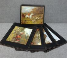 5 Vintage English Fox Hunter Placemats pimpenal / cork backed-single
