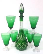 Vintage Decanter Green Crystal Set