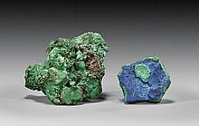 MALACHITE AND AZURITE ON MALACHITE