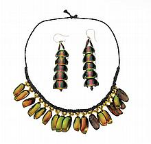 IRIDESCENT BEETLE NECKLACE AND EARRING SET