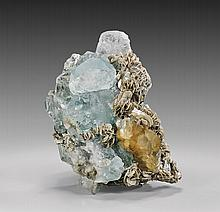 AQUAMARINE WITH SCHEELITE AND MUSCOVITE