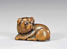 CARVED WOOD NETSUKE: Puppy