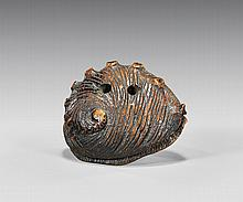 ANTIQUE CARVED WOOD NETSUKE: Shell