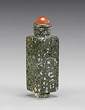 CARVED GREEN JASPER SNUFF BOTTLE