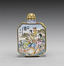 ENAMEL ON COPPER SNUFF BOTTLE