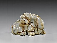 CHINESE CARVED GRAYISH-WHITE JADE QILIN