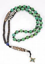 DZI-TYPE BEAD ON TURQUOISE NECKLACE