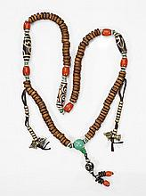 BONE NECKLACE WITH DZI-TYPE & CORAL BEAD
