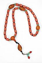 LARGE CORAL NECKLACE WITH AMBER