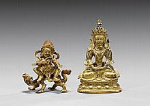 TWO MINIATURE GILT BRONZE DEITIES
