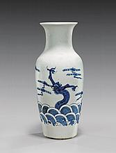 BLUE & WHITE PORCELAIN DRAGON VASE