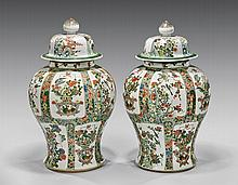 PAIR LARGE FAMILLE VERTE PORCELAIN COVERED JARS