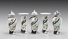 FIVE-PIECE EXPORT-STYLE PORCELAIN GARNITURE SET