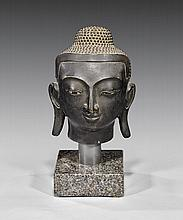 ANTIQUE BURMESE BRONZE HEAD OF BUDDHA