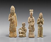 FOUR HAN DYNASTY POTTERY FIGURES