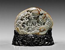 LARGE CARVED JADE PEBBLE