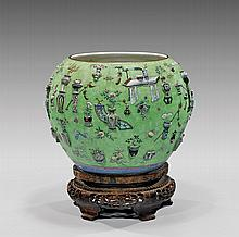 ANTIQUE CHINESE APPLIQUÉ PORCELAIN FISH BOWL