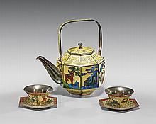 KOREAN ENAMELED STERLING SILVER TEA SET