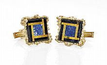 SET 14K GOLD, LAPIS & TIGER'S EYE CUFFLINKS & PIN