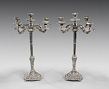 PAIR ANTIQUE FRENCH SILVER CANDELABRA