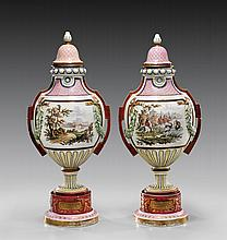 PAIR ANTIQUE ROYAL VIENNA PORCELAIN COVERED URNS
