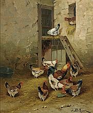 OLD CONTINENTAL OIL PAINTING: Roosters